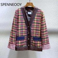 SPENNEOOY Designer Custom Spring Summer Rough Weave Vintage Lining Print Long Sleeve V Neck Cardigan Coat Jacket Women's 2020