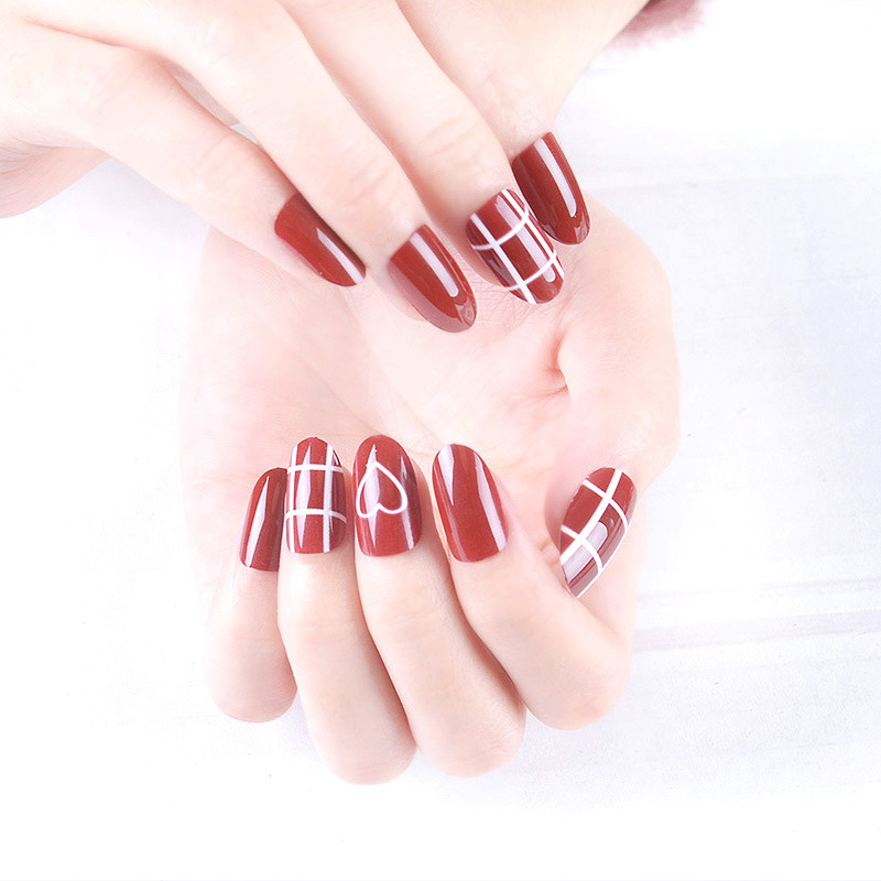 Nail Small Leisure Red Paragraph Nail Sticker Stick Completely Fake Nails PCs Waterproof Students Women's-Dismantling Repeated