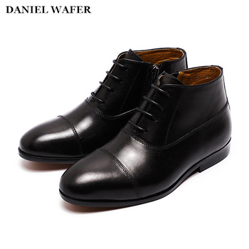 Boys School Dress Shoes Genuine Leather Boots Kids Footwear Party Wedding Men Shoes Cap Toe Black Student Formal Shoe Size 9