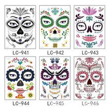 Новинка, временная татуировка на Хэллоуин, наклейка для лица, поддельные татуировки, водостойкая маска, краска для лица, водостойкая переводная поддельная татуировка