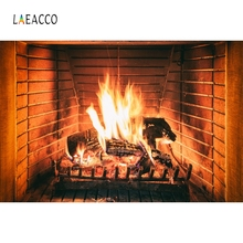 Laeacco Fireplace Blazing Burning Fire Christmas Decor Photography Backgrounds Customized Photographic Backdrop For Photo Studio
