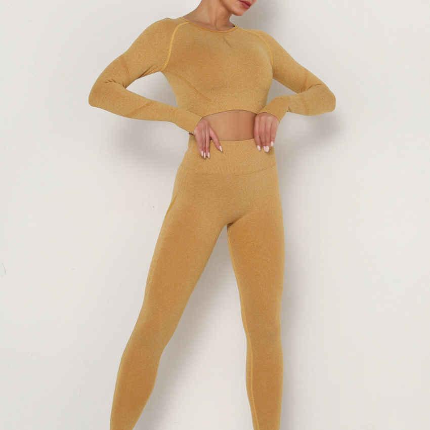 โยคะชุดออกกำลังกายเสื้อผ้าฟิตเนส Leggings + Cropped เสื้อกีฬาชุดสูทแขนยาว Tracksuit Active Wear CYF198