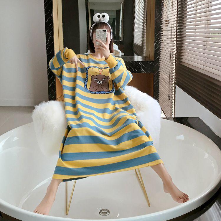 Nightgown Women's Long Sleeve Autumn Yellow Blue Stripes Bear Skirt M-XXL 3 PCs Color