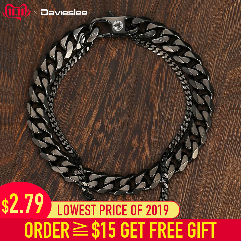 Davieslee Double Cuban Chain Bracelet For Men Polished Finished Stainless Steel Link Silver Gold Black Tone 8-10inch LDB03