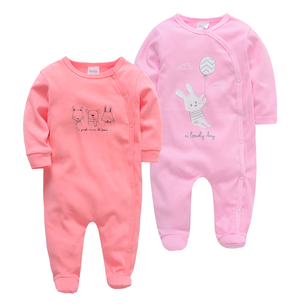 2pcs/lot Baby Girls Romper Bodysuit Kavkas Newborn Clothes Full Sleeve 100%Cotton Overalls
