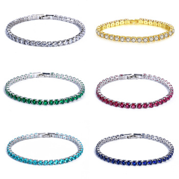 925 Sterling Silver 3mm 4mm 17cm 19CM Blue Green Red Tennis Bracelet Bangle For Women Wedding Fashion Jewelry Party Gift S4777