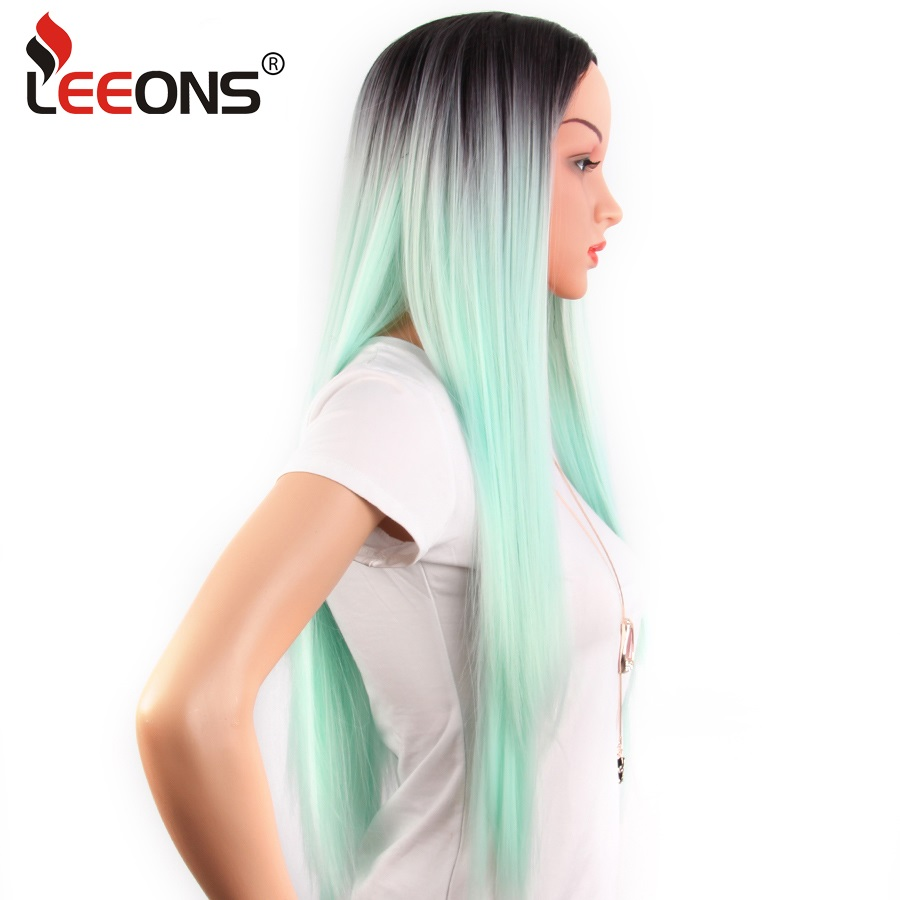 Leeons Ombre Green Grey Straight Long Synthetic Wigs For Women Blonde Wigs Dark Rooted Hair 26 Inch Cosplay Wigs Heat Resistant