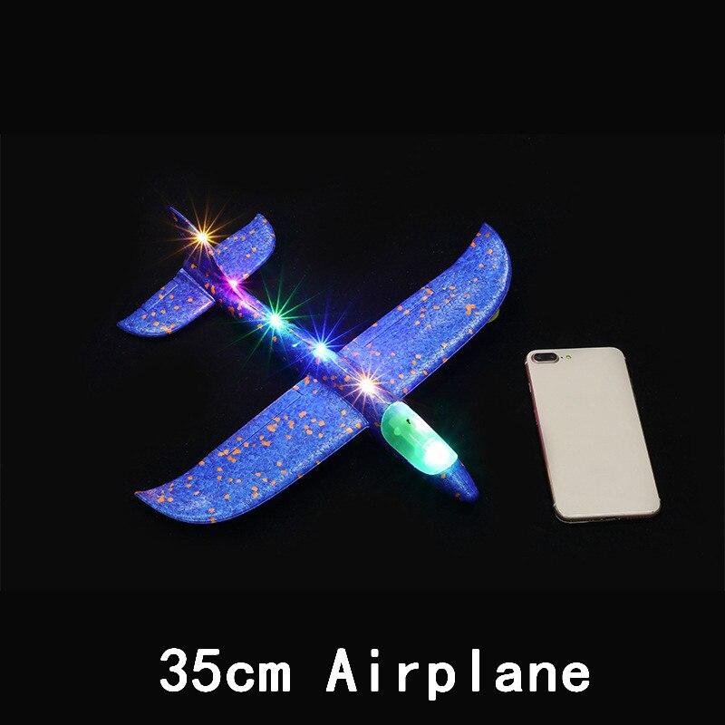 Дети DIY модель самолета ручной бросок Летающий планер самолет пена наполнители самолет СВЕТОДИОДНЫЙ мигающий самолет игрушки для детей подарок - Цвет: All Lamp Blue