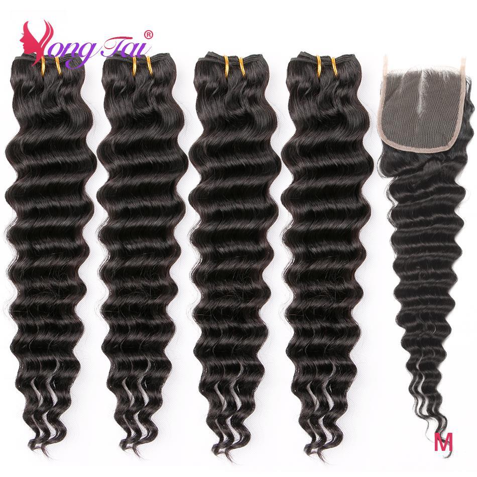 Yuyongtai cabelo peruano onda profunda tecer cabelo humano 4 pacotes com 4x4 fechamento do laço não remy pacotes com fechamento médio relação