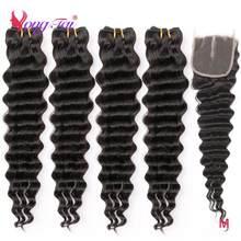 YuYongtai − extensions naturelles péruviennes, cheveux non-remy, Deep Wave, 4x4, avec Lace Closure, Ratio moyen, lot de 4