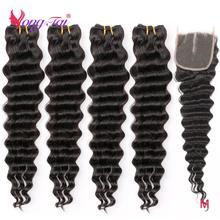 Yuyongtai髪ペルーディープウェーブ人毛織り4 × 4のレースの閉鎖と4バンドル非レミーバンドルと閉鎖中比