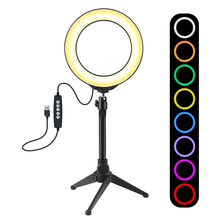 6.2 inch 160mm USB 10 Modes 8 Colors RGBW Adjustable Dimmable LED Round Rings Vlogging Photography Lamp Video Lights + Tripod