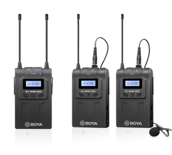 BOYA BY-WM8 PRO UHF Dual Wireless Lavalier Microphone Systerm Lav Interview Mic 2 Transmitters 1 Receiver For DSLR Video Camera