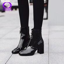 AIMEIGAO 暖かいぬいぐるみジッパーアンクルブーツ女性の冬の黒 pu レザー通気性の雪のブーツの女性の防水ハイヒールの靴