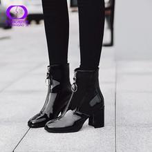 AIMEIGAO חם קטיפה רוכסנים קרסול מגפי נשים החורף שחור עור מפוצל לנשימה שלג מגפי נשים עמיד למים נעלי עקבים גבוהים