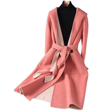 Hooded Double Sided Wool Coats Women 2020 New Autumn With Sheep Shearling Coat Female Long Casual Warm Outerwear Outerwear