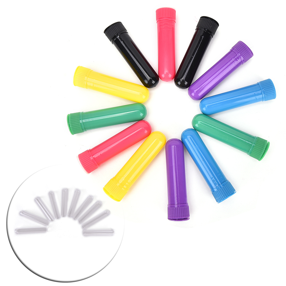 12Pcs Essential Colored Plastic Blank Nasal Aromatherapy Inhalers Tubes Sticks Nasal Container With Wicks For Oil Nose