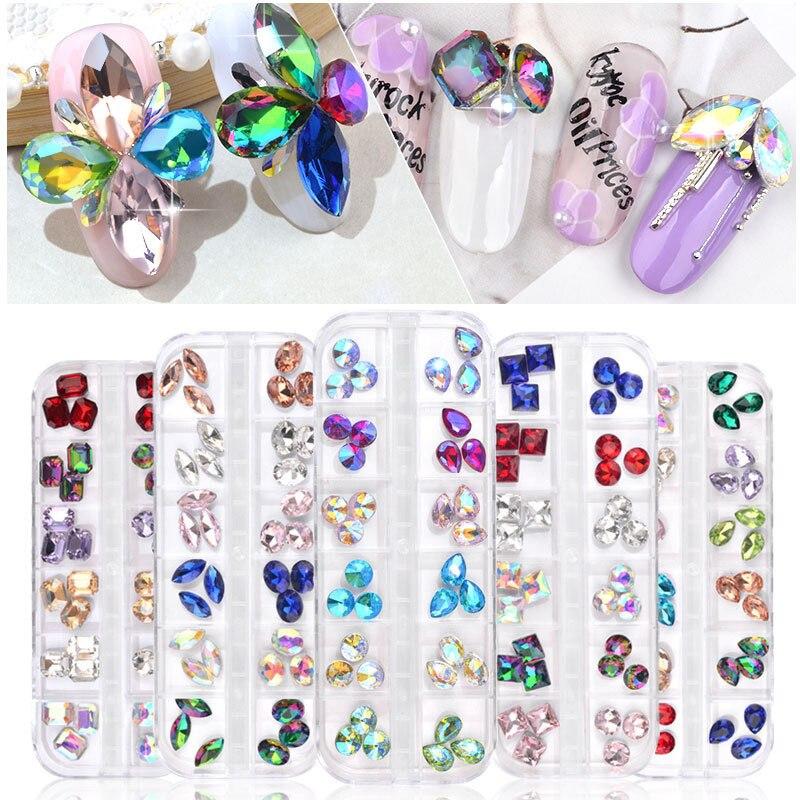 36pcs Nail Art Rhinestones Mixed Oval Waterdrop Round Chameleon AB Crystal Glass Gems 3D Glitter Nail Art Decorations