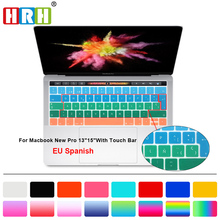 Gradient Spanish Silicone Keyboard Cover Skin for New MacBook Pro 13 15 Inch (2016 NEWEST VERSION,with Touch Bar) EU/UK Layout new for macbook pro 13 a1278 topcase palm rest keyboard backlit us uk euro eu german french danish russian spanish 2011 2012