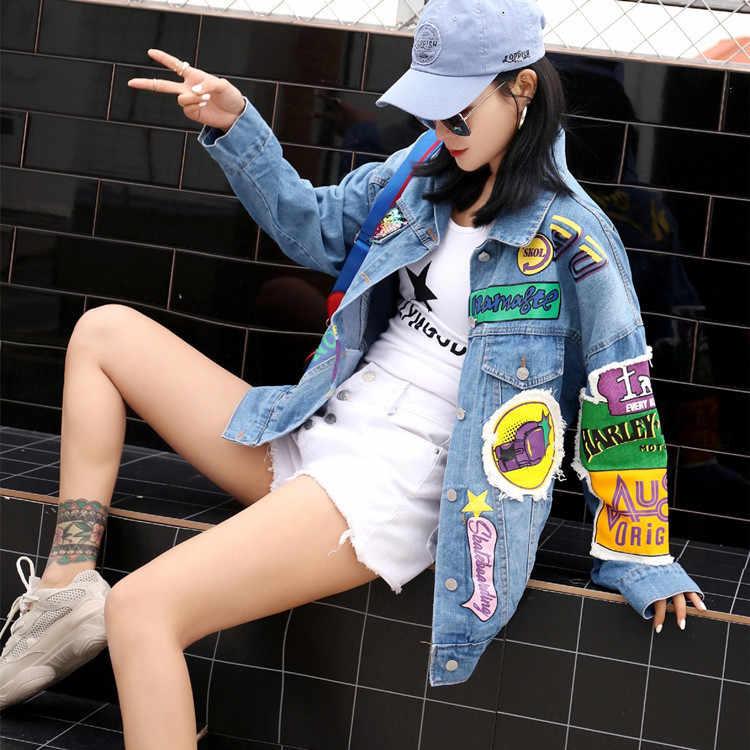 2019 Musim Gugur Baru Harajuku Siswa Mencuci Air Jeans Jaket Denim Wanita Kasual Huruf Graffiti Jaket Denim Bercetak Pendek Mantel
