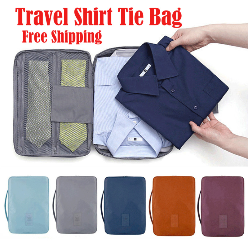 Travel Shirt Tie Sorting Pouch Zipper Organizer Portable Outdoor Waterproof Nylon Storage Bag 6 Colors