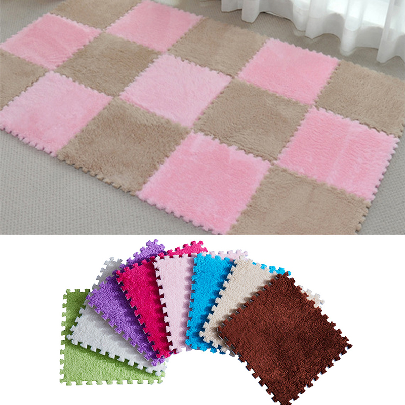 New 25*25cm Kids Carpet Foam Puzzle Mat EVA Shaggy Velvet Baby Eco Floor 9 Colors For Living Room Tapetes Para Casa Sala