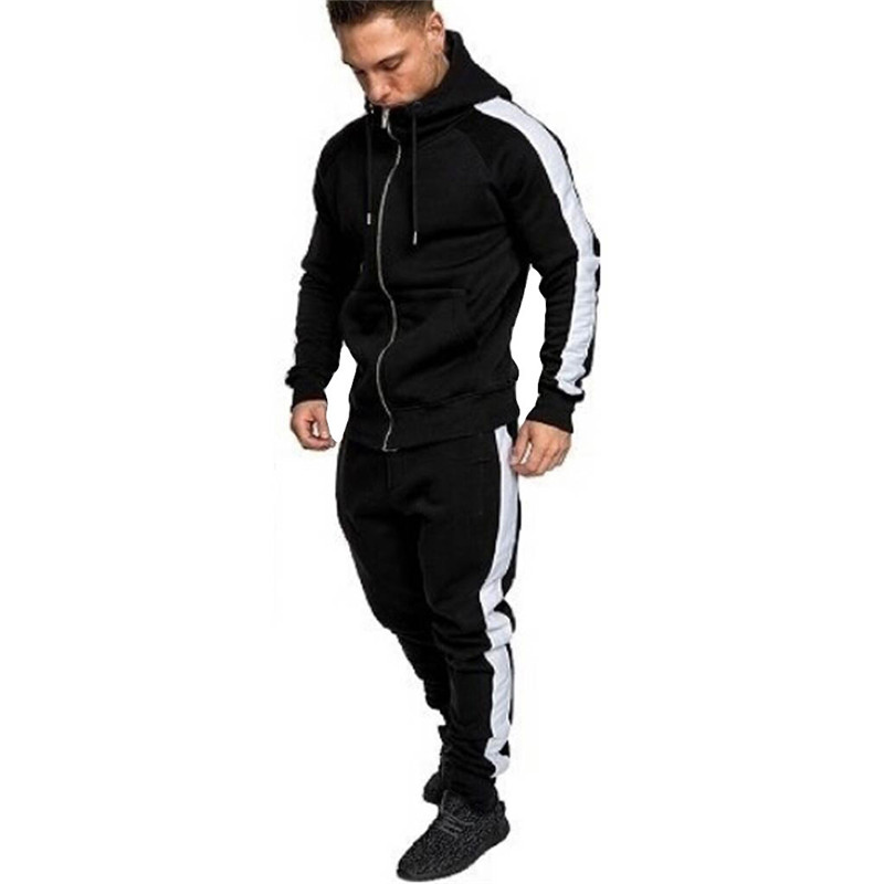 Mens Winter Sweatshirt Zip Print Hoodies Sweatshirt Streetwear Top Pants Sets New Sport Suit Tracksuit Male Clothes Dropship E26