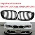 Para BMW Serie 3 E46 coupé 2 puertas 1999-2002 reemplazo de coche riñon Sport grillas parrilla riñonera doble SlatBright pintura negra