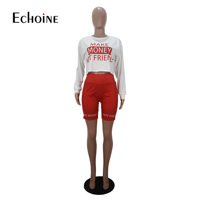 Echoine Women Sexy letter Print Two Piece Set Long sleeve T-shirt Shorts Suit Jogger Tracksuit Matching Party Outfit Streetwear 5