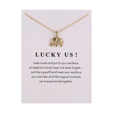 Fashion Animal Gold Color Jewelry Lucky Us Message Elephant Alloy Pendant Necklace For Women Gift
