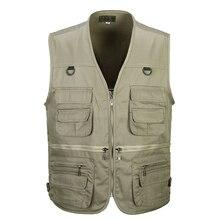 الرجال القطن متعددة جيب سترة الصيف جديد ذكر عادية رقيقة جاكيت بلا إكمام مع جيوب كثيرة رجل مصور فضفاض صدرية