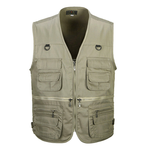 Image 1 - 男性の綿のマルチポケットベスト夏新男性カジュアル薄型ノースリーブジャケット多くポケットメンズカメラマンだぶだぶチョッキ