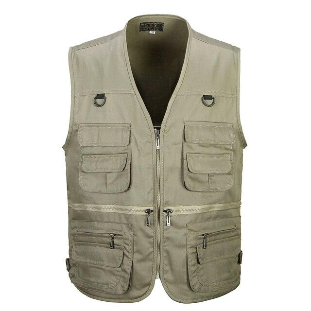 男性の綿のマルチポケットベスト夏新男性カジュアル薄型ノースリーブジャケット多くポケットメンズカメラマンだぶだぶチョッキ