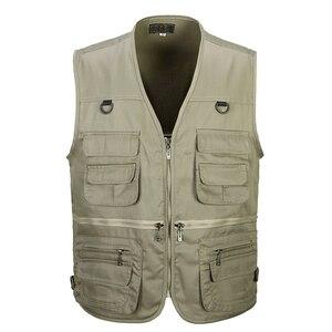 Image 1 - Men Cotton Multi Pocket Vest Summer New Male Casual Thin Sleeveless Jacket With Many Pockets Mens Photographer Baggy Waistcoat