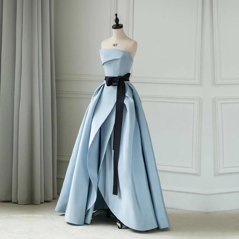 Neue Grau Blau Hohe Split Prom Kleid Lange Liebsten Backless Stain Abendkleid Fur Besondere Anlasse Kleid Vestido De Fiesta Evening Dresses Aliexpress
