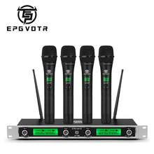 EPGVOTR 4 Channels UHF Wireless Microphone System EP-400 with 4 Metal Material Handheld Transmitters for Stage Church Family DJ
