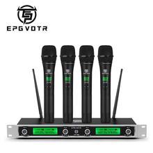 Epgvotr 4 canais uhf sistema de microfone sem fio EP 400 com 4 transmissores handheld material do metal para o dj da família da igreja da fase