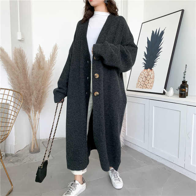 [EAM] Gray Big Size Long Knitting Cardigan Sweater Loose Fit V-Neck Long Sleeve Women New Fashion Tide Autumn Winter 2021 Y204 3