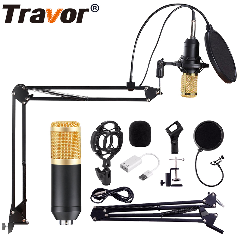 Trevor BM800 Condenser Audio 3.5mm Wired Microphone Professional Studio Microphone For Radio Braodcasting Singing Mic Holder