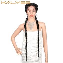 Kalyss 36 pouces Extra Long 360 dentelle tressée perruques dentelle avant néerlandais jumeaux synthétiques tresses perruque pour les femmes noires avec des cheveux de bébé