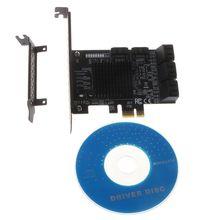 9215+575 Chip 8 Ports SATA 3.0 to PCIe Expansion Card PCI Express SATA Adapter Converter with Bracket Driver for HDD raid5 sata pci card black silver 8 0t max