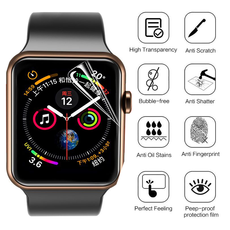Screen Protector Clear Full Cover Protective Film for apple watch 4 5 40MM 44MM Not Tempered Glass for iwatch 3 2 1 38MM 42MM 3