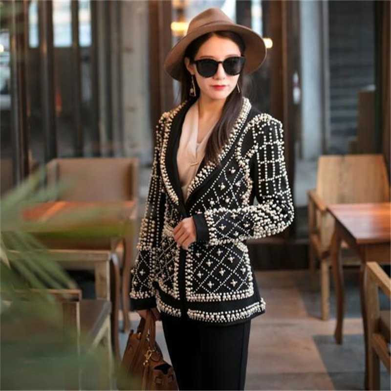 2019 Women New Black Pearl Blazer Jacket Nightclub Costume Female Guest Ds Singer Dj Performance Party Celebration High Quality