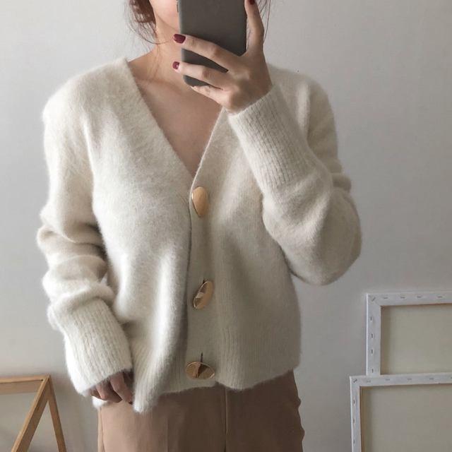 Mooirue Autumn Women Soft White Knitted Cashmere Sweater Double Button Women Warm Jumper V-Neck Winter Sweater 16