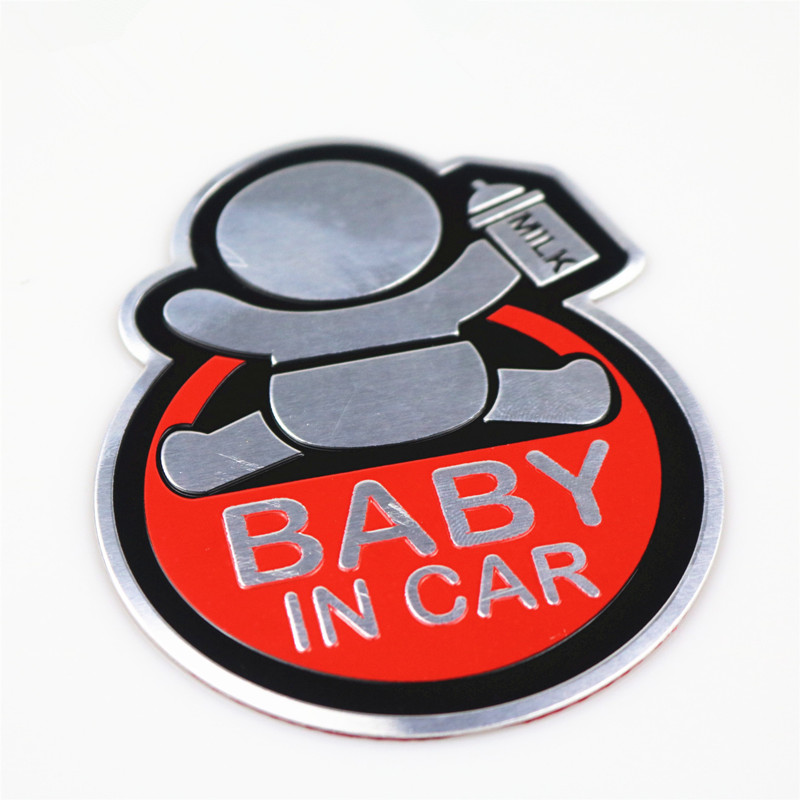 NEW baby in car Aluminum car sitcker For Volkswagen VW GOLF MAZDA Ford focus Bmw Alfa Romeo Skoda Kia toyota audi <font><b>Chevrolet</b></font> image