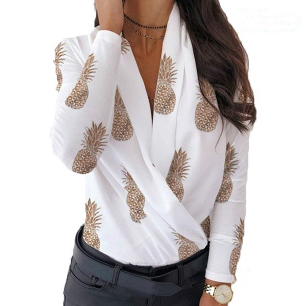 Sexy Deep V-neck Swing Collar Women Blouse Autumn Casual Long Sleeve Elegant Slim Solid Office Shirt Pullover Tops Plus Size 3XL