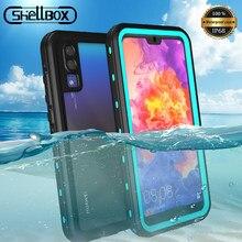 Shellbox su geçirmez telefon kılıfı için Huawei P40 Pro P30 P20 Lite şeffaf darbeye sualtı kapak için Huawei Mate20 Mate 30 pro