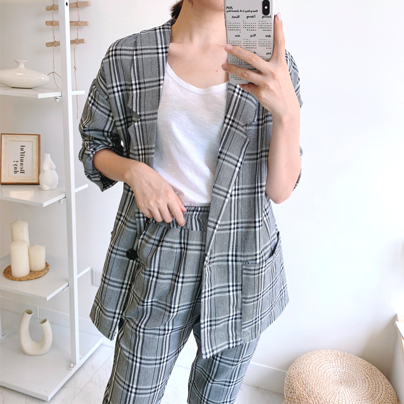 Milinsus 2019 Autumn Office Lady Fashion Plaid Blazer Suits 2 Pieces Vintage Women Loose Blazer Coats And Nine-cent Pant Sets