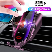 Qi Wireless Charger For iPhone 11 Pro XS MAX XR X 8 Plus Simplefast 10W Car Phone Holder Wirless Charger For Samsung S10 Note 10(China)