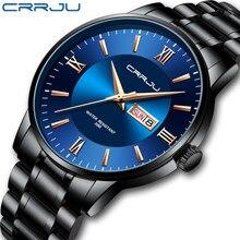 Relogio masculino crrju relógios masculinos moda relógio de pulso para homem banda de aço inoxidável à prova dwaterproof água data azul presente relógios de quartzo